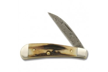 Case Swayback Gent with Genuine Prime Stag Handle and Raindrop Damascus Steel Blade