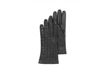 Black Woven Leather Women's Gloves w/Cashmere Lining