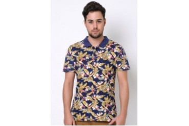Native Youth S/S HIBISCUS HAWAIIAN PRINT POLO SHIRT