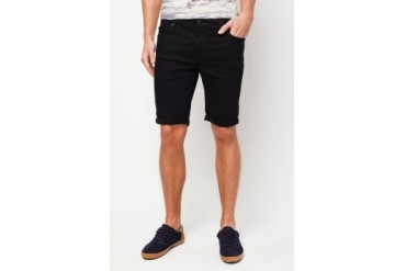 Black Skinny Stretch Denim Shorts