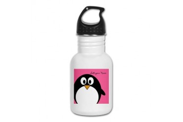 Add NAME - Penguin PINK Kid's Water Bottle