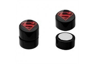 DC Comics Superman Superboy Logo Acrylic Faux Plug Magnetic Earrings