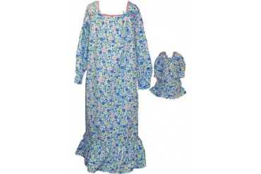 Size 12 Matching Girl And Doll Multi Color Flowers Nightgown