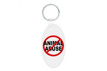 Anti / No Animal Abuse Pets Aluminum Oval Keychain by CafePress