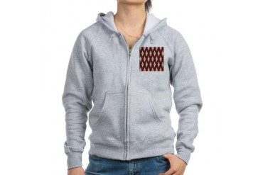 Argyle Red Gray Holiday Women's Zip Hoodie by CafePress