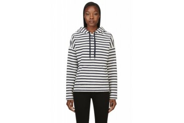 T By Alexander Wang Navy And Ivory French Terry Hooded Sweatshirt