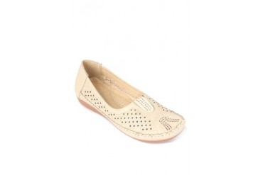 Beige Flats Loafers