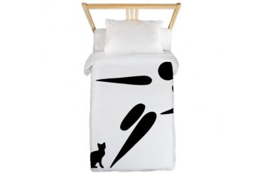 Kick Cat Funny Twin Duvet by CafePress