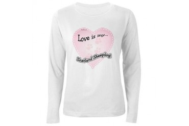 Love is my Shetland Sheepdog Women's Long Sleeve T Pets Women's Long Sleeve T-Shirt by CafePress