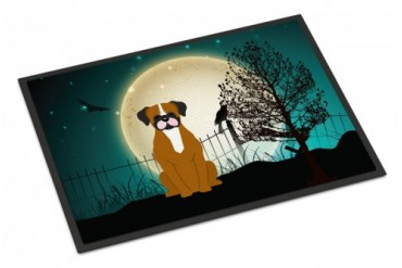 Halloween Scary Flashy Fawn Boxer Indoor or Outdoor Mat 18x27
