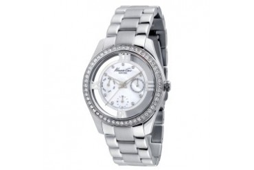 Stainless Steel Round Watch With Crystal Bezel and Mother-Of-Pearl Dial