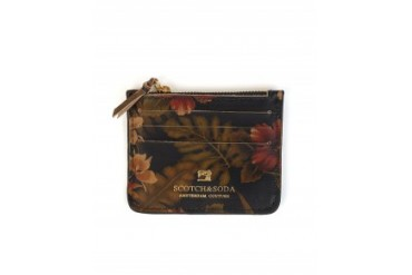 Scotch & Soda Floral Leather Zip Card Wallet Multi