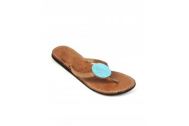 Laid Back London 'Doli' Turquoise Handmade Leather Thong Flip Flops Tan, 10