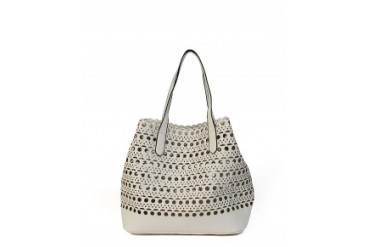 Street Level Perforated Tote Bag Ivory
