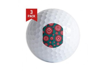 Red and Teal Geometric Floral Cute Golf Balls by CafePress