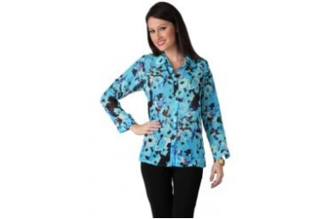 Now & Forever Now Forever Flower Water Print Blue Navy Shirt with Gold Button