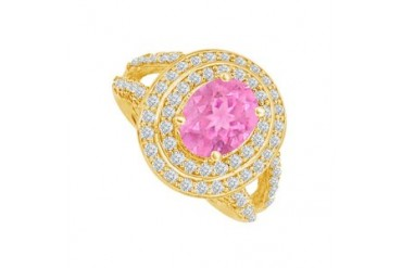 Pink Sapphire and CZ Split Shank Ring 2.25 CT TGW
