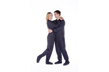 Black amp White Adult Flannel Footed Pajamas