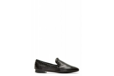 Giuseppe Zanotti Black Leather Studded Loafers