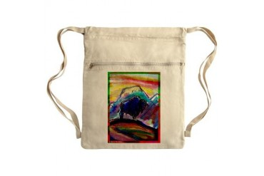 Buffalo, colorful, art Sack Pack Art Cinch Sack by CafePress