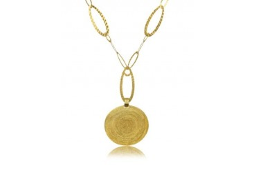 Golden Silver Etched Round Pendant Chain Necklace