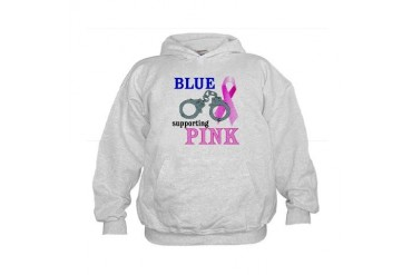 Blue supporting Pink Breast cancer awareness Kids Hoodie by CafePress