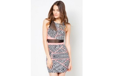 Material Girl Tribal Illusion Bodycon Dress