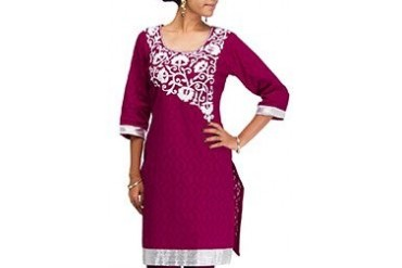 Enticing Embroidered Cotton Jacquard Kurti