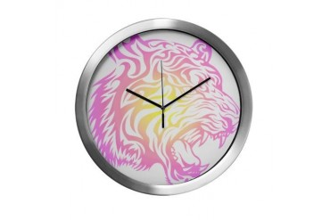 Colorful Tribal Tiger Cool Modern Wall Clock by CafePress