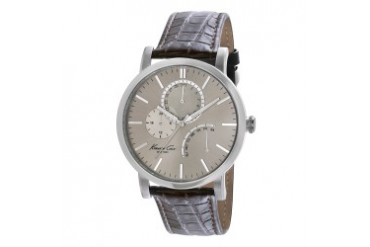Slim Multifunction Watch With Brown Croco-Embossed Strap
