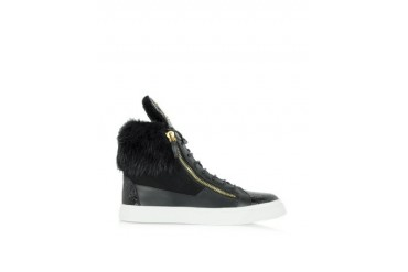 London Croco Stamped High-Top Black Leather Sneaker