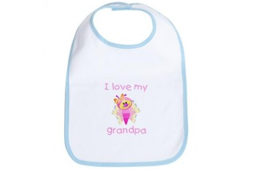I love my grandpa girl butterfly Baby Bib by CafePress