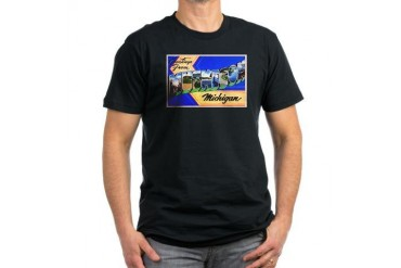 Muskegon Michigan Greetings Men's Fitted T-Shirt Vintage Men's Fitted T-Shirt dark by CafePress