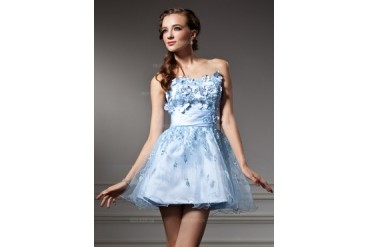 A-Line/Princess Sweetheart Short/Mini Satin Tulle Homecoming Dress With Ruffle Lace Beading Flower(s) (022011123)