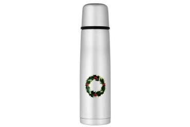 Holly Wreath Large Thermos Bottle Christmas Large Thermosreg; Bottle by CafePress