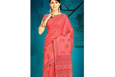 Awesome Red Printed Cotton Saree
