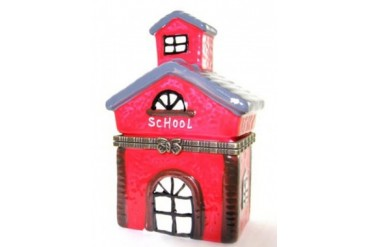 Old Little Red Schoolhouse Hinged Trinket Box phb