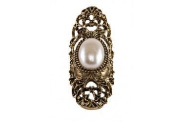 Fox's Accessories Exaggerated Hollow Carved with Pearl Ring