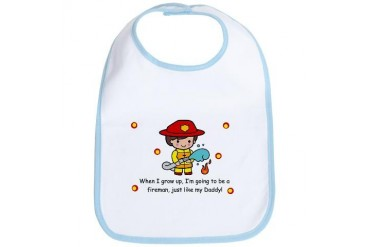 Just like Daddy Fireman Baby Cute Bib by CafePress