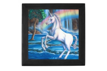 Rainbow Unicorn Art Keepsake Box by CafePress