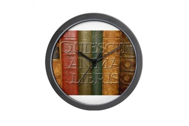 Quiescit Anima Libris Italian Wall Clock by CafePress
