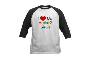 I love my autistic sister t-s Autism Kids Baseball Jersey by CafePress