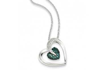 1 3 Ctw Blue amp White Diamond 22mm Heart Necklace in Sterling Silver