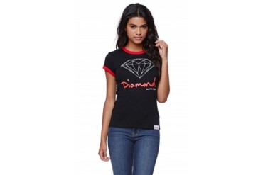 Womens Diamond Supply Co Tees & Tanks - Diamond Supply Co Diamond Ringer T-Shirt