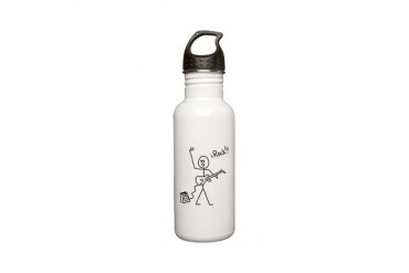 iRock Stick Man with Bald Man Plays Electric Guita Guitar Stainless Water Bottle 0.6L by CafePress