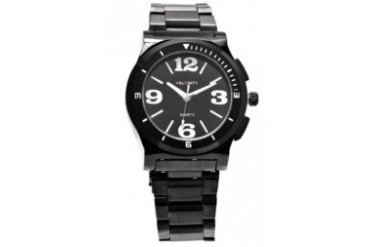 Black Dial Metal Case and Strap Watch