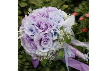 Romantic Purple Round Satin Bridal Bouquets (124032070)