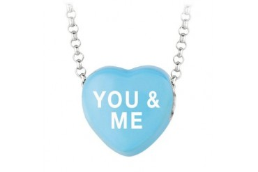 You and Me Blue Heart Pendant Necklace Sweethearts Collection Valentine Day