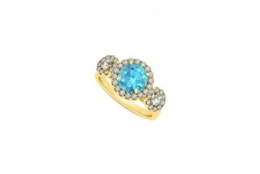 Triple Halo Two Stone Created Blue Topaz and Cubic Zirconia Engagement Ring