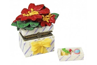 Poinsettia Flower Gift Planter Trinket Box phb